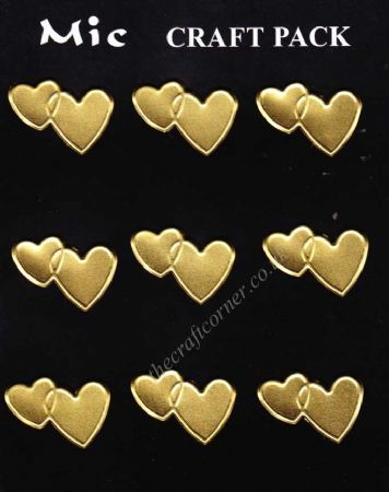 9 Gold Metal Love Heart Self Adhesive Embellishments